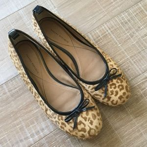 Banana Republic Leopard Calf Hair Bow Ballet Flats
